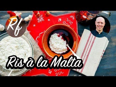 Ris à la Malta är kall risgrynsgröt som blandas med vispad grädde och serveras med saftsås eller bärsås som dessert på julbordet.>