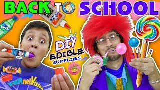 DIY EDIBLE SCHOOL SUPPLIES! Teacher vs  Supplies! FUNnel Vision Back to School Skit