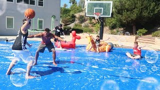 We turned our BASKETBALL COURT into a SLIP N SLIDE (BAD IDEA) - INJURY WARNING