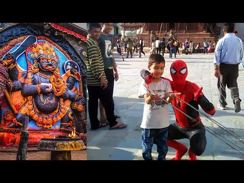 Surprise meet with Spider-Man at Basantpur, Kathmandu Durbar Square !