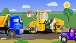Видео для мальчиков про рабочие машины - Джипик и Асфальтовый каток.