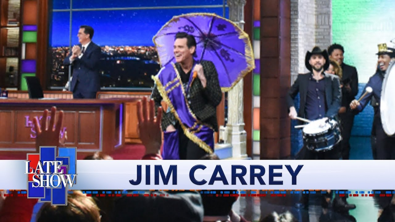 Jim Carrey Makes Late Show History With Grand New Orleans-Style Entrance thumbnail