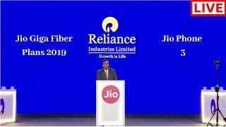 Reliance AGM Live [ Jio Fiber Plans Launch & Jio Phone 3 ]
