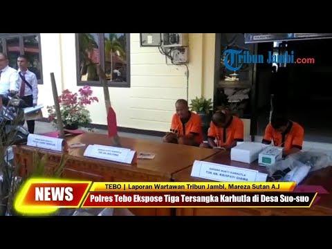 Polres Tebo Ekspose Tiga Tersangka Karhutla di Desa Suo-suo