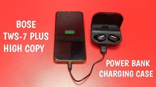 BOSE TWS-7 PIUS High Copy BT 5.0 With Power Bank Charging Case 2500 mAh Unboxing & Review.