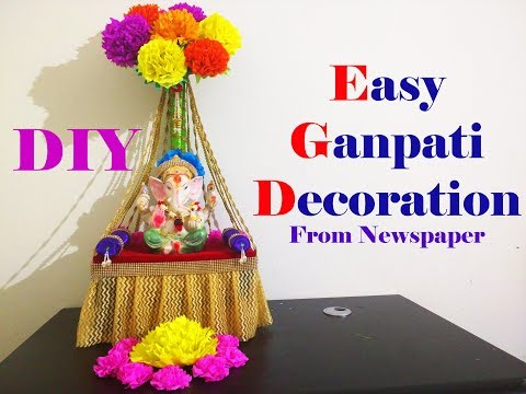 Easy Ganesh Decoration ideas at home  | DIY