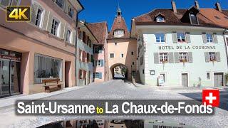 Driving from Saint-Ursanne to La Chaux-de-Fonds | Road Trip in Switzerland 🇨🇭