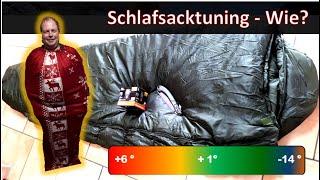 Schlafsacktuning, Isomatte und Inlett selbstgebaut - MYOG - Fluchtrucksack - BOB - DIY - Low Budget