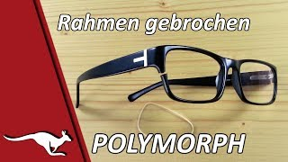 Brillen-Rahmen mit schwarzem Polymorph repariert