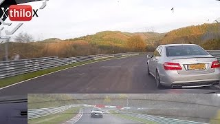"Mercedes AMG E63 in ""tunnel mode"" + Megane RS on the Nürburgring Nordschleife"