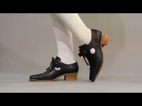 PRE-ORDER Nell Women's 17th Century Leather Shoes (Black)