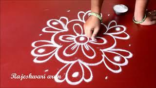 simple lotus kolam  designs with 5 dots - latest easy rangoli designs 2017 - big chukkala muggulu