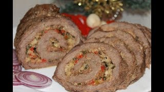 Праздничный мясной рулет из говядины с начинкой