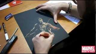 preview picture of video 'Gabriele Dell'Otto disegna Daredevil a Angoulême 2013'