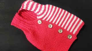 Two Colour Half Baby Sweater Knitting Step By Step In Hindi
