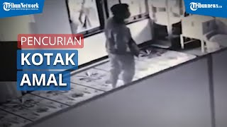 Aksi Pencruian Kotak Amal Terekam Kamera CCTV Musala Al Amin di Kota Malang