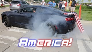 Houston Cars and Coffee / Burnouts and hard Acceleration AMERICA! EDITION - July 2017