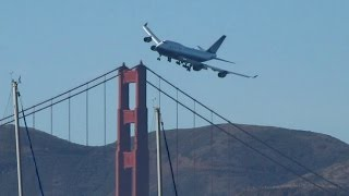 """Boeing 747 dramatic low pass over the Golden Gate, """"Kai Tak"""" comment"""