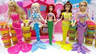 Disney Princess Play-Doh Mermaid Costume Dress UP Frozen Rapunzel Belle Aurora Learn Colors with DIY