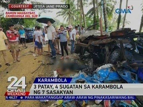 [GMA]  3 patay, 4 sugatan sa karambola ng 7 sasakyan