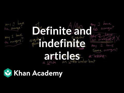 Definite and indefinite articles | The parts of speech | Grammar | Khan Academy