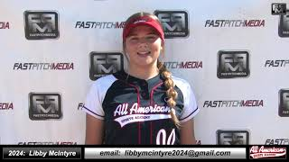 2024 Libby McIntyre Catcher and Shortstop Softball Skills Video - AASA Ayala