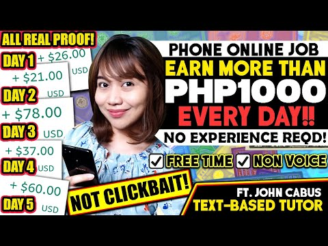 , title : 'Earn MORE THAN $20/Day [P1000+] Using PHONE! FREE TIME ONLINE JOB, GET HIRED EASILY as Text-Based T.