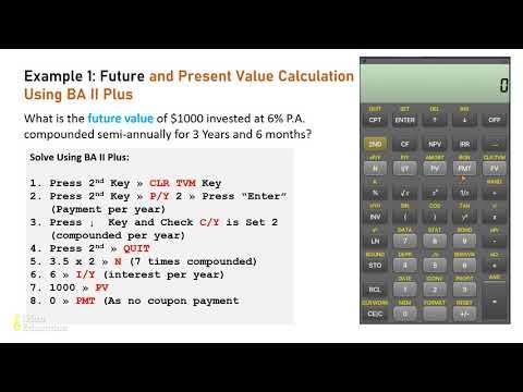 BA II Plus Calculator Tutorial - Future Value and Present Value Calculation