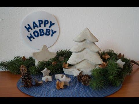 Weihnachtsbaum und Stern aus Beton basteln mit Silikonbackform , Plastik- und Eiswürfelform
