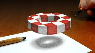 3D Trick Art on Paper, Floating chess, Letter O