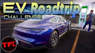 We Road Trip a Porsche Taycan Over 1,000 Miles And Get ICED By a Tesla!