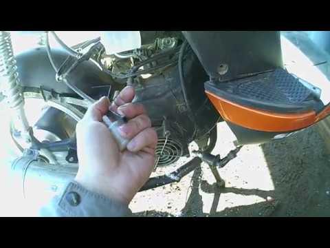 запуск двигателя скутера после зимней стоянки.