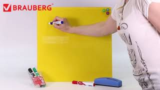 Доска магнитно-маркерная стеклянная (45×45 см), 3 магнита, СИНЯЯ, BRAUBERG, 236741