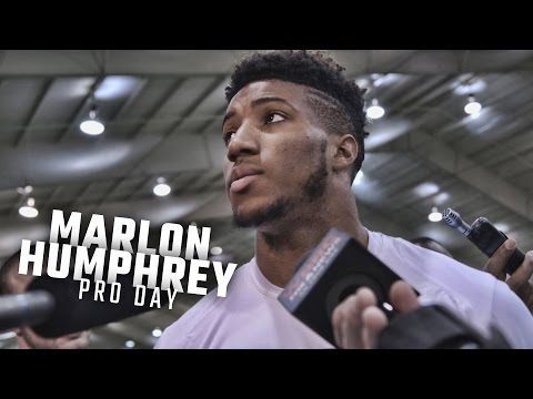 Marlon Humphrey speaks to the media following Alabama's Pro Day