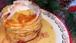 Pineapple Upside Down Pancakes with Vanilla Butter Cream Syrup