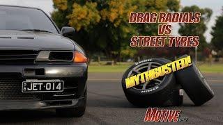 MYTHBUSTED Drag Radial vs Street Tyre Motive Garage Project Budget Supercar R32 GT-R Pt13