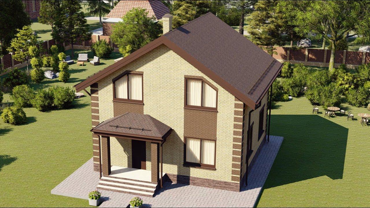 Проект простого мансардного дома из пеноблока 120 м2