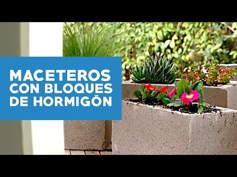 Como hacer maceteros de bloque de hormigon patios y jardines - Jardineras caseras ...