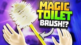 MAGIC TOILET BRUSH BATTLES ALIENS -  VR Flush Gameplay - VR HTC Vive Pro Gameplay