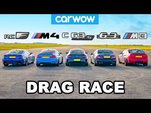 BMW M4 v AMG C63 S vs Lexus RC F v old M3 & C63: DRAG RACE