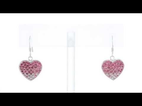 Sterling Silver Heart-Shaped Swarovski Crystal Earrings SE7070 by Peora Jewelry