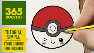 COMO DIBUJAR UNA POKEBALL KAWAII PASO A PASO - Dibujos kawaii faciles - How to draw a pokeball