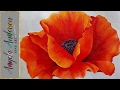 RED POPPY Acrylic Painting Georgia O'Keeffe Inspired Tutorial LIVE Beginner Blending Lesson