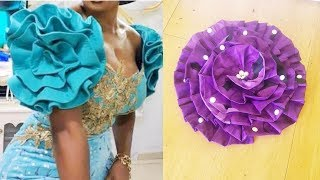 How To Make Pleated Flower/Rose On Circle Shaped Sleeve | DIY Flower Fabric | Circle Sleeve
