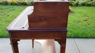 Walnut And Burlwood Ladies Writing Desk W/ Antique Louis XVI Style Mahogany & Inlaid Chair For Sale