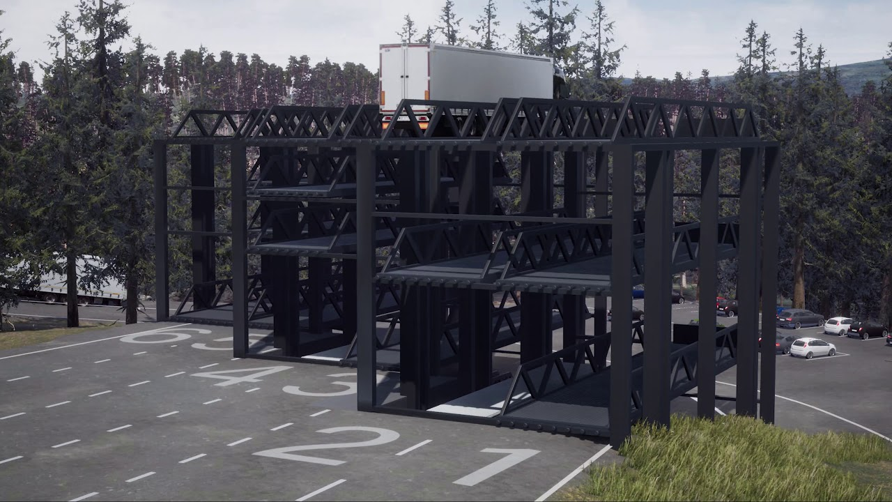 Kaip sutalpinti 87 sunkvežimius 30 stovėjimo vietų? Vokiečiai sugalvojo būdą