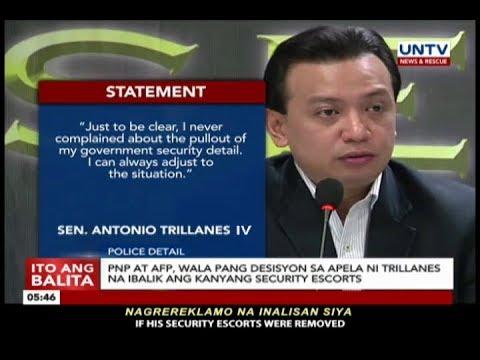 [UNTV]  Sen. Trillanes, sobra-sobra ang security escort kayat binawasan ng PNP