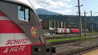 preview picture of video 'Innsbruck Hbf - 3 bedruckte ÖBB Loks - railjet - S-Bahn Tirol - BR 111 - ÖBB 1144 - Stadtbilder'