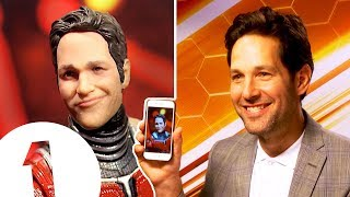 Paul Rudd on his RIDICULOUS Ant-Man action figure.