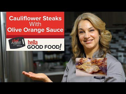 Cauliflower Steak with Olive Orange Sauce